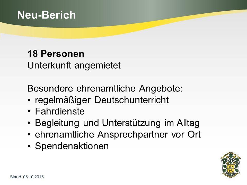 Neu-Berich 18 Personen Unterkunft angemietet Besondere ehrenamtliche Angebote: regelmäßiger Deutschunterricht Fahrdienste Begleitung und Unterstützung