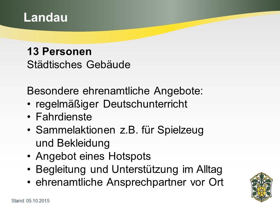 Landau 13 Personen Städtisches Gebäude Besondere ehrenamtliche Angebote: regelmäßiger Deutschunterricht Fahrdienste Sammelaktionen z.B. für Spielzeug