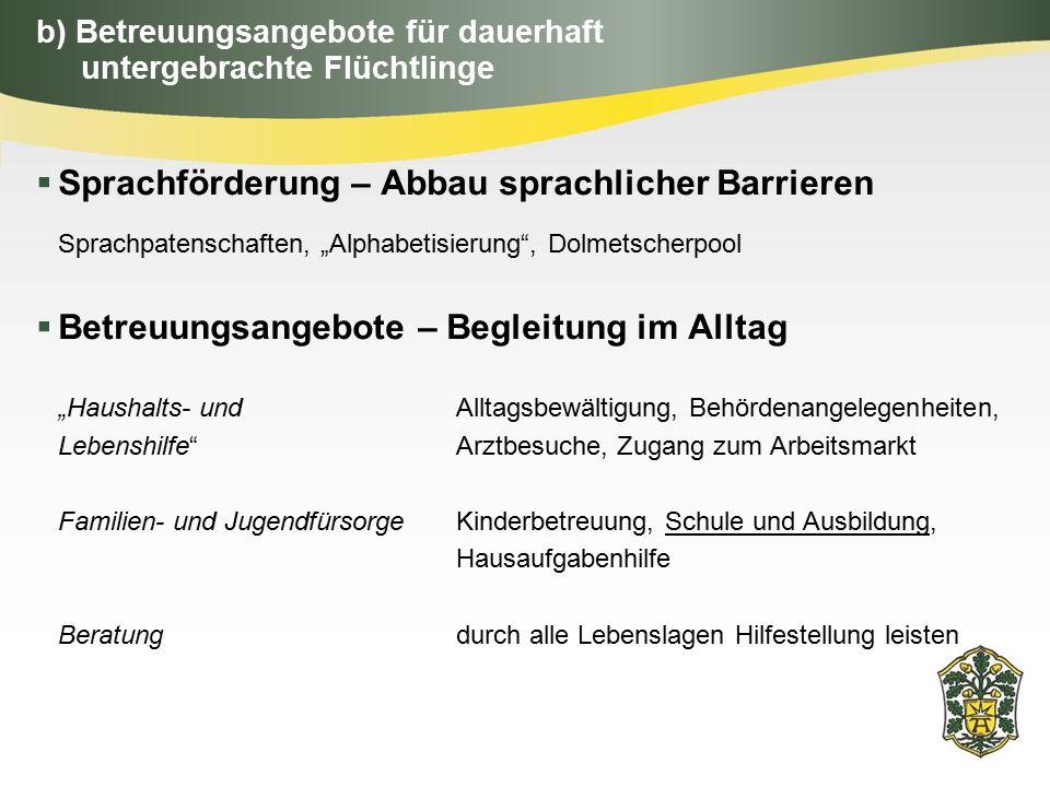 """b) Betreuungsangebote für dauerhaft untergebrachte Flüchtlinge  Sprachförderung – Abbau sprachlicher Barrieren Sprachpatenschaften, """"Alphabetisierung"""
