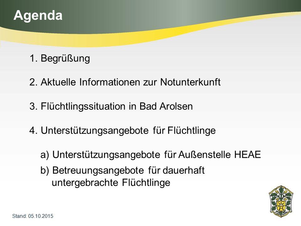 Agenda Stand: 05.10.2015 1.Begrüßung 2.Aktuelle Informationen zur Notunterkunft 3.Flüchtlingssituation in Bad Arolsen 4.Unterstützungsangebote für Flü