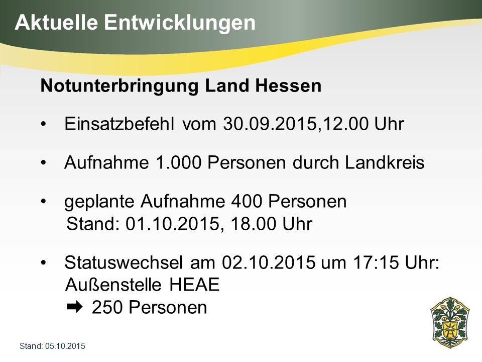 Aktuelle Entwicklungen Stand: 05.10.2015 Notunterbringung Land Hessen Einsatzbefehl vom 30.09.2015,12.00 Uhr Aufnahme 1.000 Personen durch Landkreis g