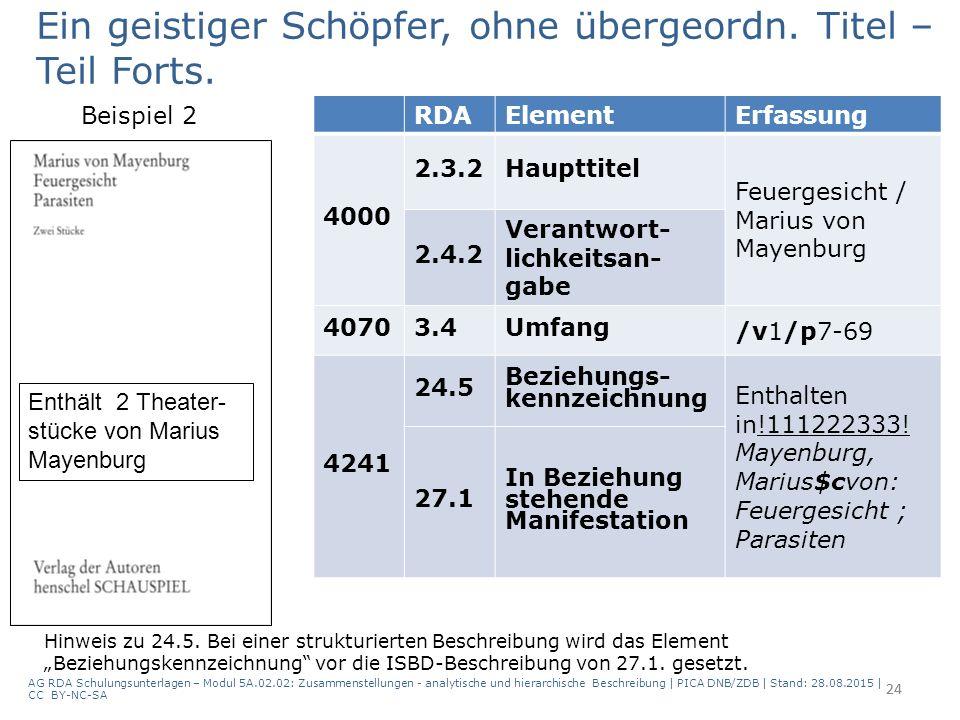 24 RDAElementErfassung 4000 2.3.2Haupttitel Feuergesicht / Marius von Mayenburg 2.4.2 Verantwort- lichkeitsan- gabe 40703.4Umfang /v1/p7-69 4241 24.5 Beziehungs- kennzeichnung Enthalten in!111222333.