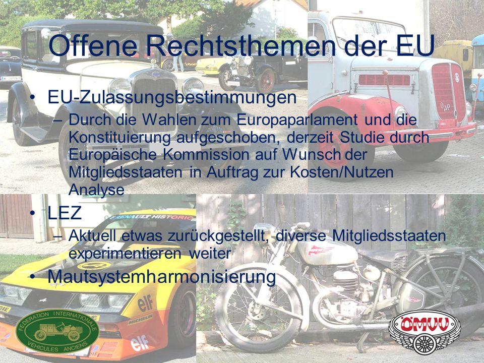Offene Rechtsthemen der EU EU-Zulassungsbestimmungen –Durch die Wahlen zum Europaparlament und die Konstituierung aufgeschoben, derzeit Studie durch E