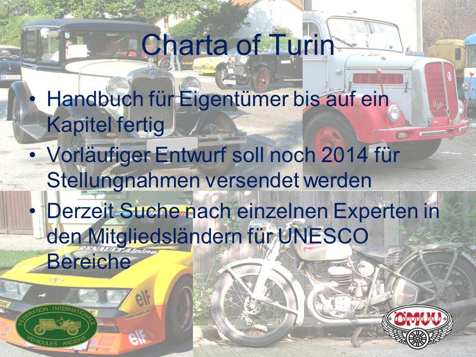 Charta of Turin Handbuch für Eigentümer bis auf ein Kapitel fertig Vorläufiger Entwurf soll noch 2014 für Stellungnahmen versendet werden Derzeit Such
