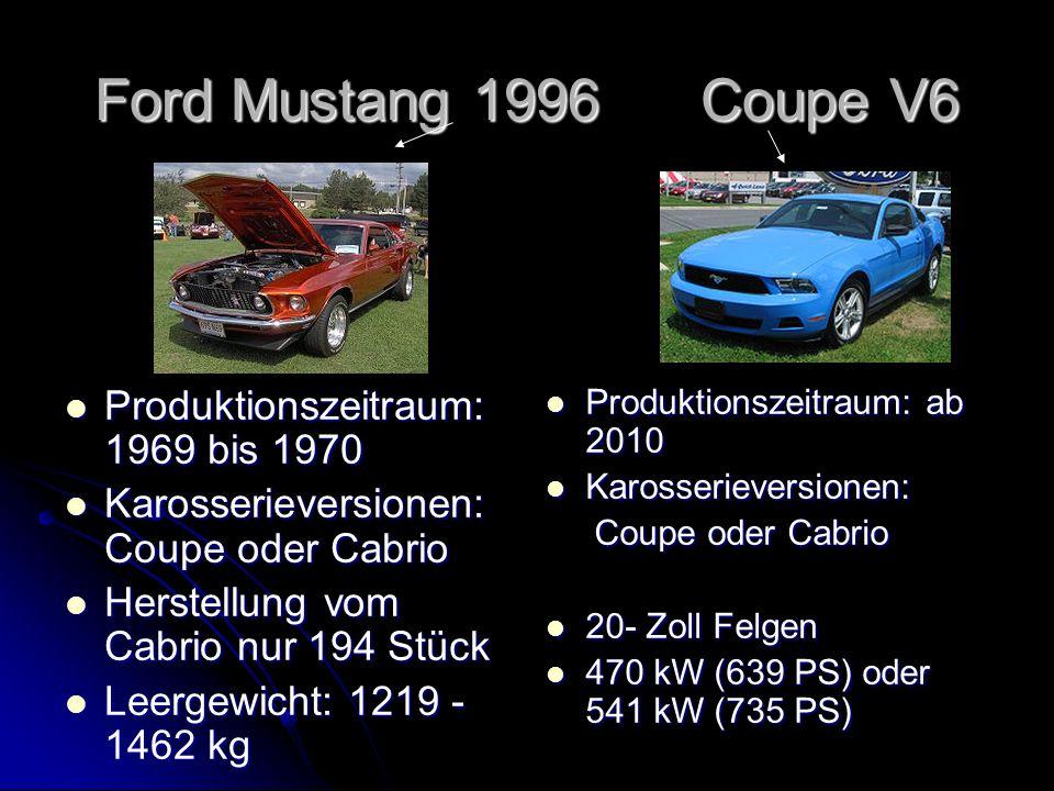 Ford Mustang 1996 Coupe V6 Produktionszeitraum: 1969 bis 1970 Produktionszeitraum: 1969 bis 1970 Karosserieversionen: Coupe oder Cabrio Karosserieversionen: Coupe oder Cabrio Herstellung vom Cabrio nur 194 Stück Herstellung vom Cabrio nur 194 Stück Leergewicht: 1219 - 1462 kg Leergewicht: 1219 - 1462 kg Produktionszeitraum: ab 2010 Produktionszeitraum: ab 2010 Karosserieversionen: Karosserieversionen: Coupe oder Cabrio Coupe oder Cabrio 20- Zoll Felgen 20- Zoll Felgen 470 kW (639 PS) oder 541 kW (735 PS) 470 kW (639 PS) oder 541 kW (735 PS)