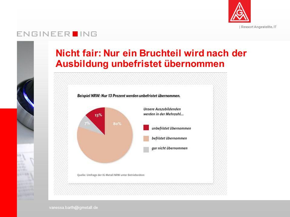 | Ressort Angestellte, IT vanessa.barth@igmetall.de Nicht fair: Nur ein Bruchteil wird nach der Ausbildung unbefristet übernommen