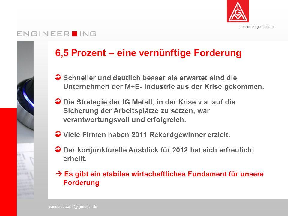 | Ressort Angestellte, IT vanessa.barth@igmetall.de 6,5 Prozent – eine vernünftige Forderung Schneller und deutlich besser als erwartet sind die Unter