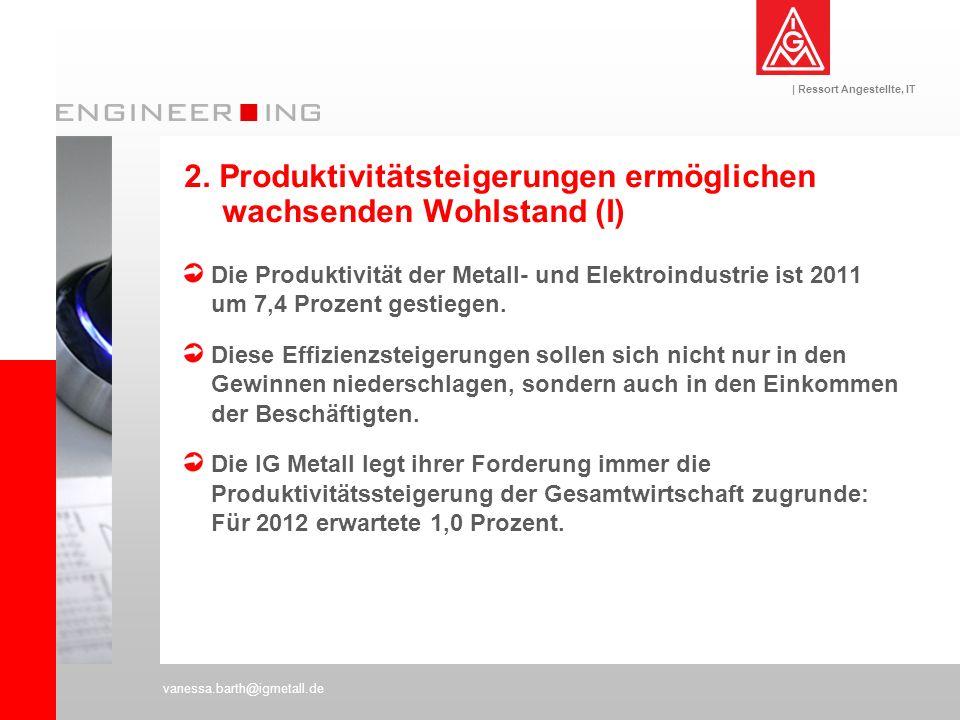 | Ressort Angestellte, IT vanessa.barth@igmetall.de Die Produktivität der Metall- und Elektroindustrie ist 2011 um 7,4 Prozent gestiegen. Diese Effizi