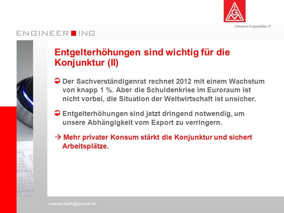 | Ressort Angestellte, IT vanessa.barth@igmetall.de Der Sachverständigenrat rechnet 2012 mit einem Wachstum von knapp 1 %. Aber die Schuldenkrise im E
