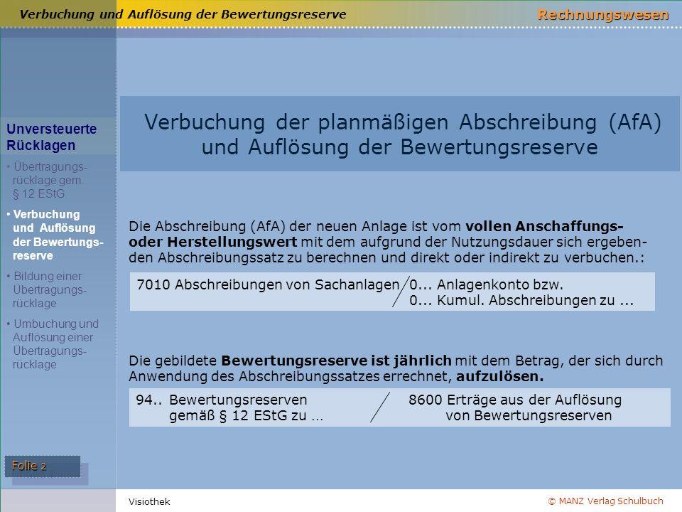© MANZ Verlag Schulbuch Rechnungswesen Folie 2 Visiothek Verbuchung und Auflösung der Bewertungsreserve Verbuchung der planmäßigen Abschreibung (AfA)