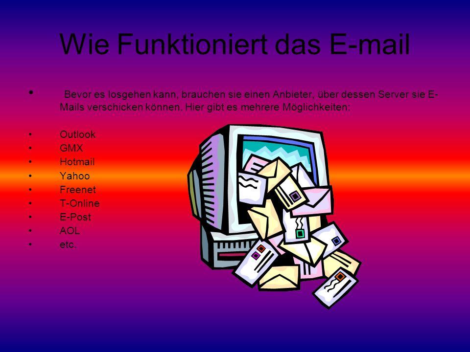 Wie Funktioniert das E-mail Bevor es losgehen kann, brauchen sie einen Anbieter, über dessen Server sie E- Mails verschicken können.