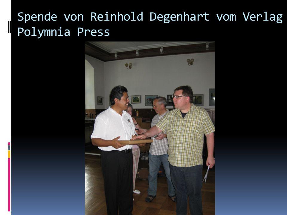 Spende von Reinhold Degenhart vom Verlag Polymnia Press