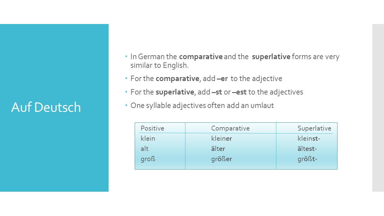 Auf Deutsch  In German the comparative and the superlative forms are very similar to English.