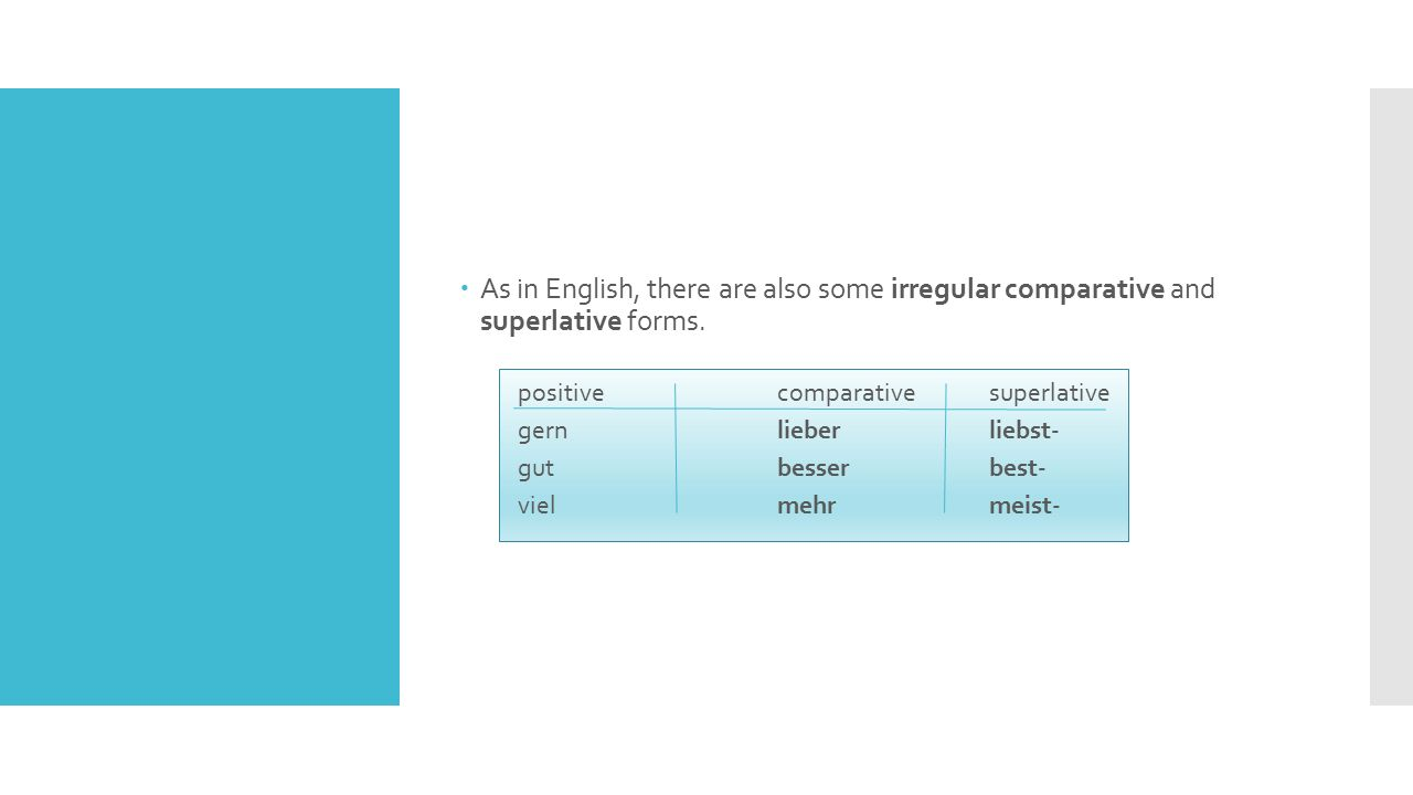 As in English, there are also some irregular comparative and superlative forms.