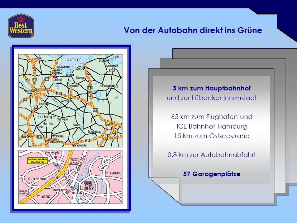Von der Autobahn direkt ins Grüne 3 km zum Hauptbahnhof und zur Lübecker Innenstadt 65 km zum Flughafen und ICE Bahnhof Hamburg 15 km zum Ostseestrand 0,8 km zur Autobahnabfahrt 57 Garagenplätze