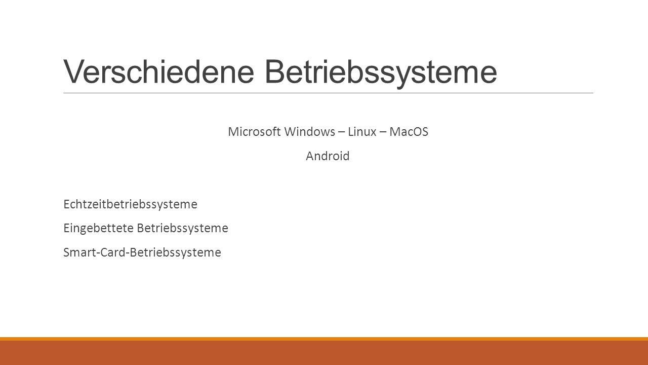 Verschiedene Betriebssysteme Microsoft Windows – Linux – MacOS Android Echtzeitbetriebssysteme Eingebettete Betriebssysteme Smart-Card-Betriebssysteme