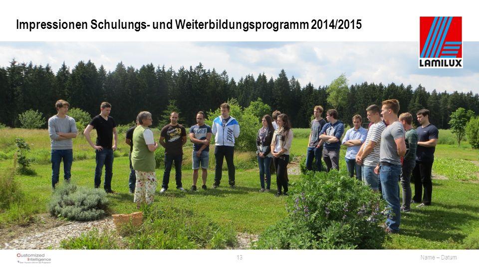 Impressionen Schulungs- und Weiterbildungsprogramm 2014/2015 13Name – Datum