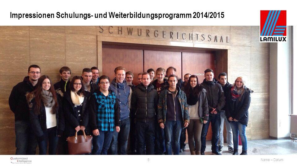 Impressionen Schulungs- und Weiterbildungsprogramm 2014/2015 8Name – Datum