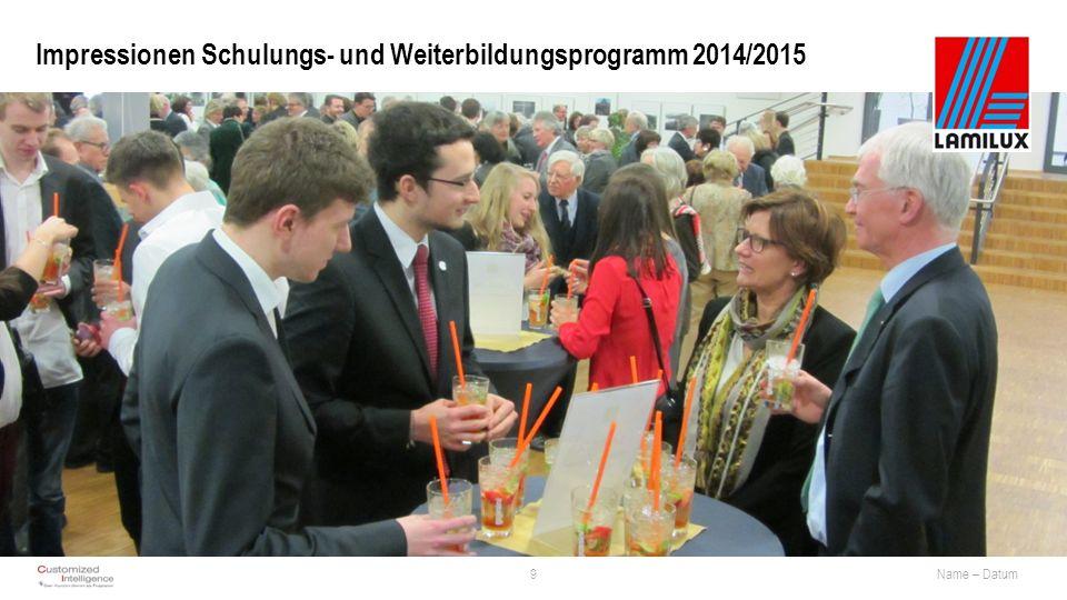 Impressionen Schulungs- und Weiterbildungsprogramm 2014/2015 9Name – Datum