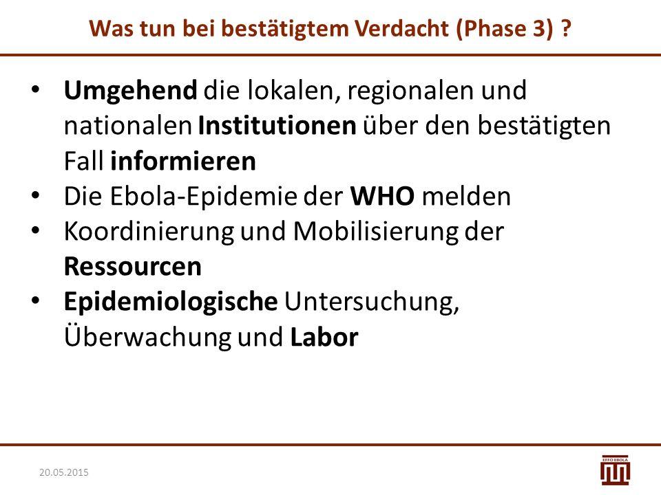 Was tun bei bestätigtem Verdacht (Phase 3) ? Umgehend die lokalen, regionalen und nationalen Institutionen über den bestätigten Fall informieren Die E