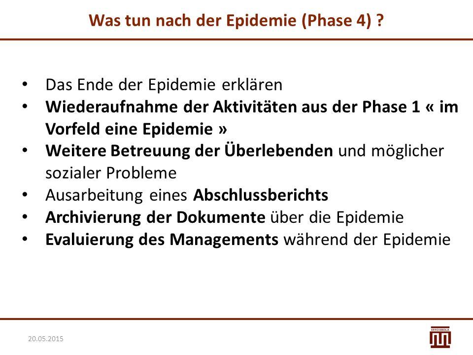 Was tun nach der Epidemie (Phase 4) ? Das Ende der Epidemie erklären Wiederaufnahme der Aktivitäten aus der Phase 1 « im Vorfeld eine Epidemie » Weite