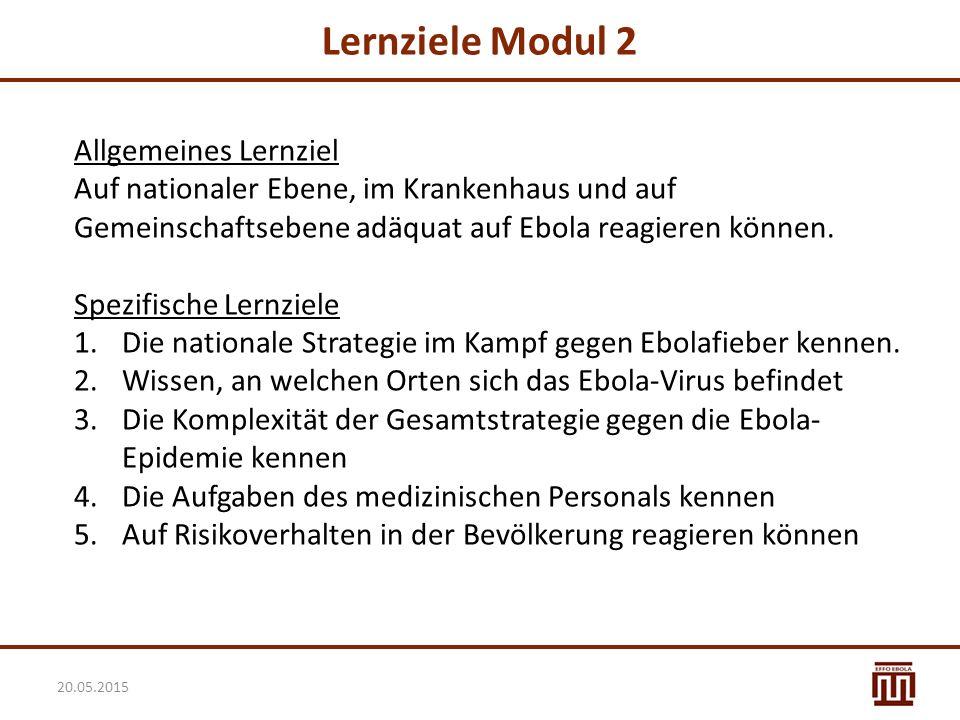 Lernziele Modul 2 Allgemeines Lernziel Auf nationaler Ebene, im Krankenhaus und auf Gemeinschaftsebene adäquat auf Ebola reagieren können. Spezifische