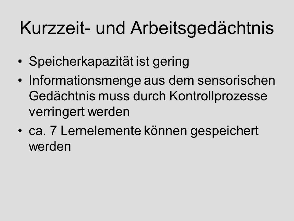 Kurzzeit- und Arbeitsgedächtnis KZG speichert passiv Informationen hier werden aber auch aktiv Informationen verarbeitet – Arbeitsgedächtnis Beispiel: Löse die Rechenaufgabe 7x45.