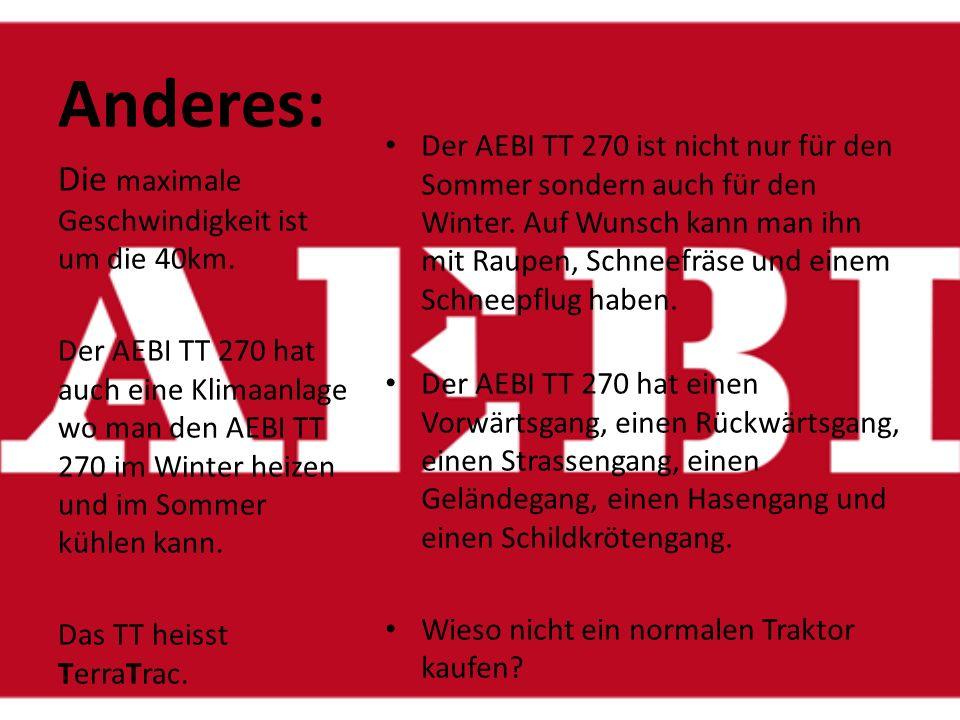 Die Bremsen vom AEBI TT 270: Der AEBI TT 270 hat Hydraulische Bremsen auf allen Räder, die durch das Fusspedal betätigt werden können.