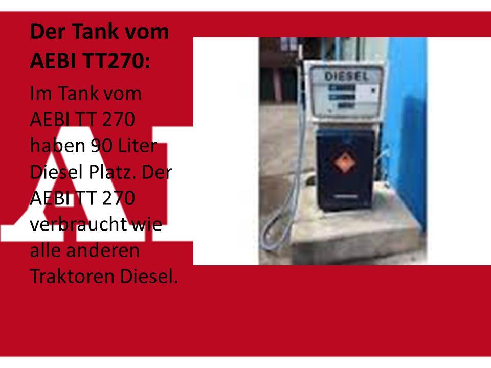 Zugkraft vom AEBI TT 270 Der AEBI TT 270 darf einen Anhänger ohne Bremsen mit 1500kg ziehen. Hat der Anhänger hydraulische Bremsen hat, darf er 6000kg
