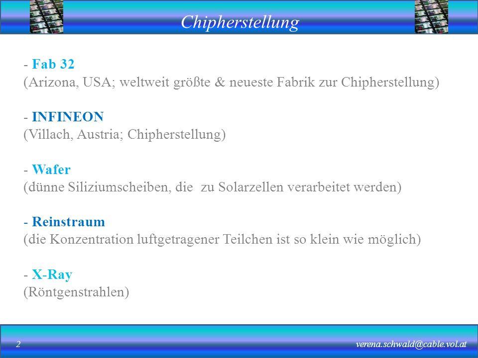 Chipherstellung verena.schwald@cable.vol.at2 - Fab 32 (Arizona, USA; weltweit größte & neueste Fabrik zur Chipherstellung) - INFINEON (Villach, Austria; Chipherstellung) - Wafer (dünne Siliziumscheiben, die zu Solarzellen verarbeitet werden) - Reinstraum (die Konzentration luftgetragener Teilchen ist so klein wie möglich) - X-Ray (Röntgenstrahlen)