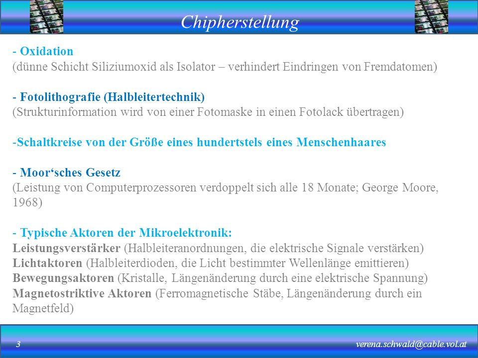 Chipherstellung verena.schwald@cable.vol.at14