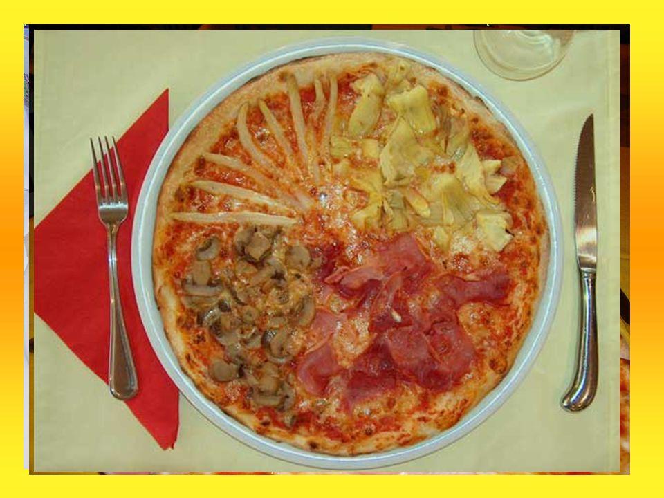 Allgemeines: Jede Pizza hat einen Pizzaboden und ist belegt mit Tomatensauce. Verschiedene Variationen: Margherita (Käse) Prosciutto (Käse, Schinken)