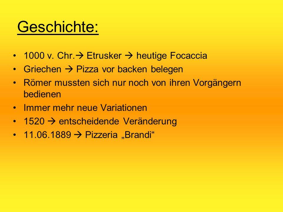 Geschichte: 1000 v. Chr.  Etrusker  heutige Focaccia Griechen  Pizza vor backen belegen Römer mussten sich nur noch von ihren Vorgängern bedienen I