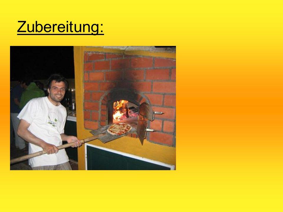Zubereitung: Im Steinofen: Zwischen 400 und 450°C Ca. 5 min. backen Im Backofen: Zwischen 180 und 200°C Ca. 15 min. backen