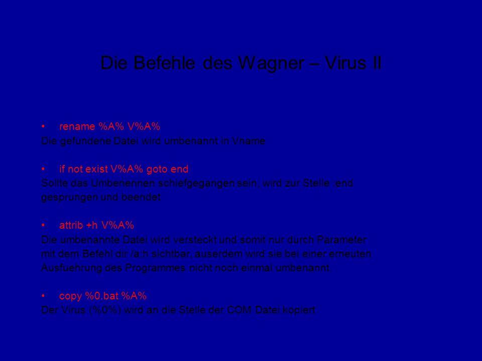 Die Befehle des Wagner – Virus II rename %A% V%A% Die gefundene Datei wird umbenannt in Vname if not exist V%A% goto end Sollte das Umbenennen schiefgegangen sein, wird zur Stelle :end gesprungen und beendet attrib +h V%A% Die umbenannte Datei wird versteckt und somit nur durch Parameter mit dem Befehl dir /a:h sichtbar, auserdem wird sie bei einer erneuten Ausfuehrung des Programmes nicht noch einmal umbenannt.