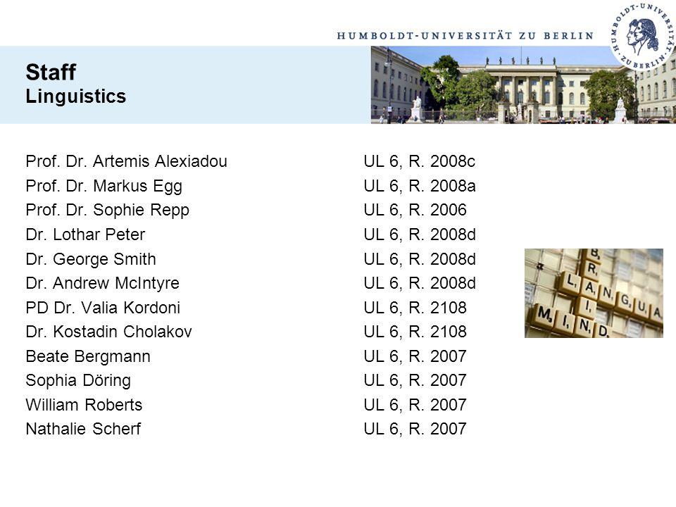 Prof. Dr. Artemis AlexiadouUL 6, R. 2008c Prof. Dr. Markus EggUL 6, R. 2008a Prof. Dr. Sophie ReppUL 6, R. 2006 Dr. Lothar PeterUL 6, R. 2008d Dr. Geo