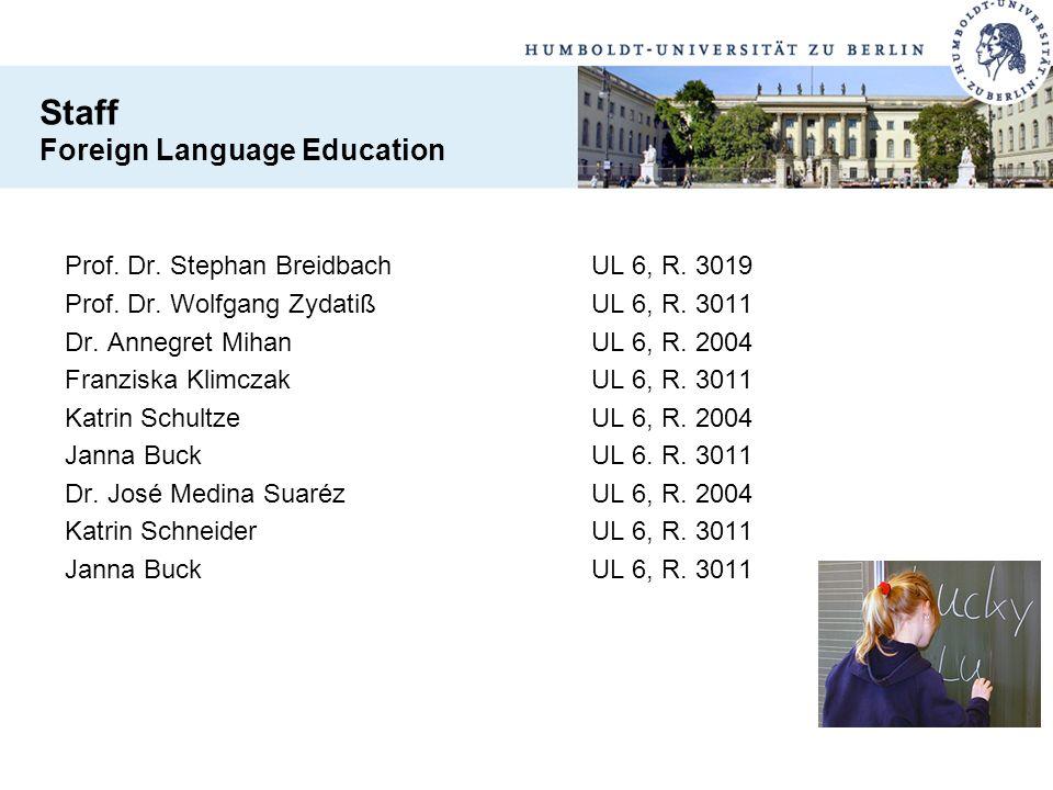 Prof. Dr. Stephan BreidbachUL 6, R. 3019 Prof. Dr. Wolfgang ZydatißUL 6, R. 3011 Dr. Annegret MihanUL 6, R. 2004 Franziska KlimczakUL 6, R. 3011 Katri