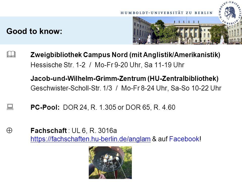 Good to know:  Zweigbibliothek Campus Nord (mit Anglistik/Amerikanistik) Hessische Str. 1-2 / Mo-Fr 9-20 Uhr, Sa 11-19 Uhr Jacob-und-Wilhelm-Grimm-Ze