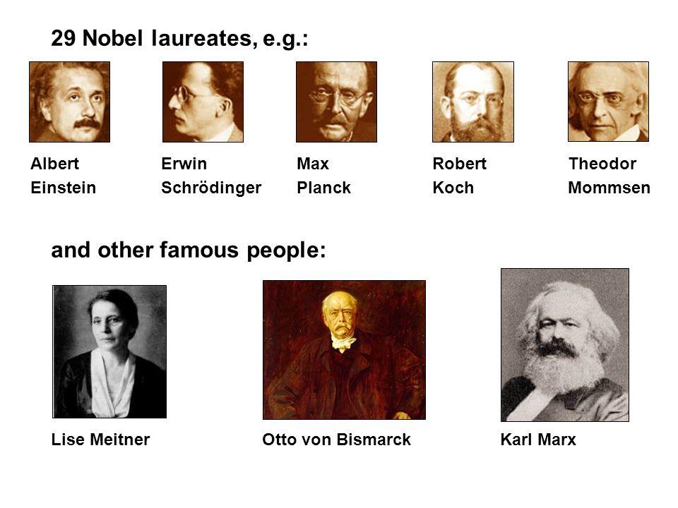 29 Nobel laureates, e.g.: Albert Erwin MaxRobertTheodor EinsteinSchrödingerPlanckKochMommsen and other famous people: Lise Meitner Otto von BismarckKa