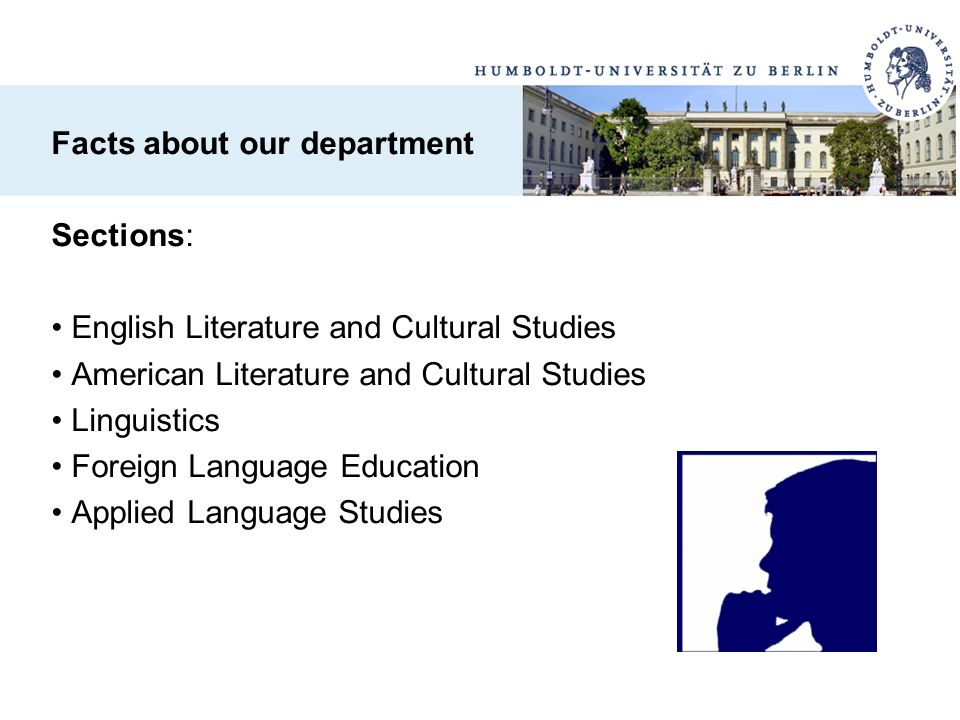 This list enables all prospective, current and former students and staff of the Department of English and American Studies as well as anyone else who is interested in what the Department has to offer.
