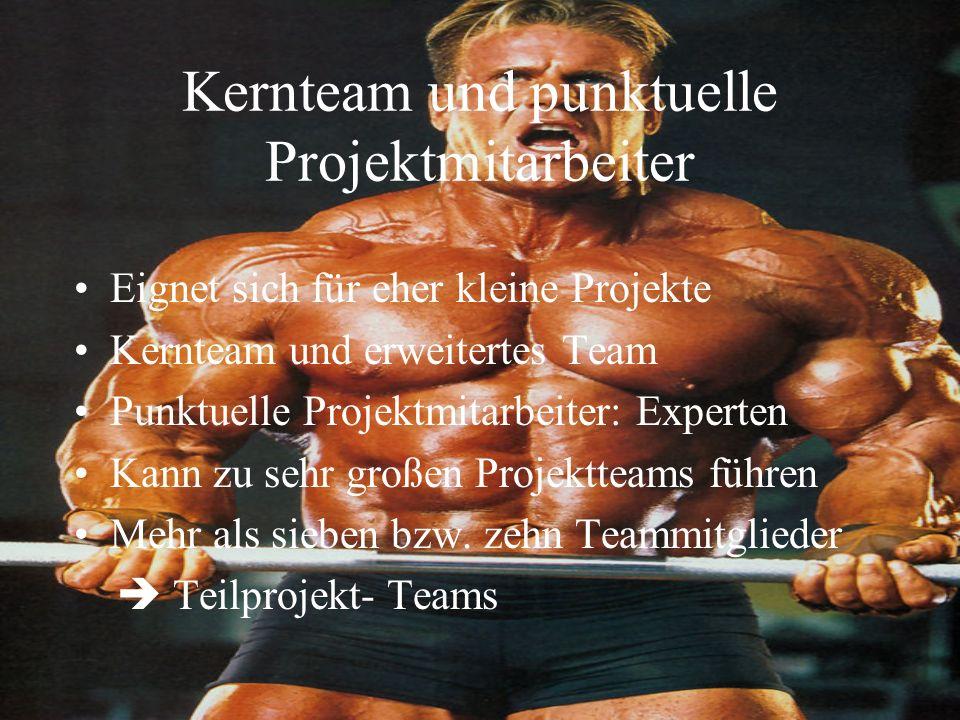Kernteam und punktuelle Projektmitarbeiter Eignet sich für eher kleine Projekte Kernteam und erweitertes Team Punktuelle Projektmitarbeiter: Experten