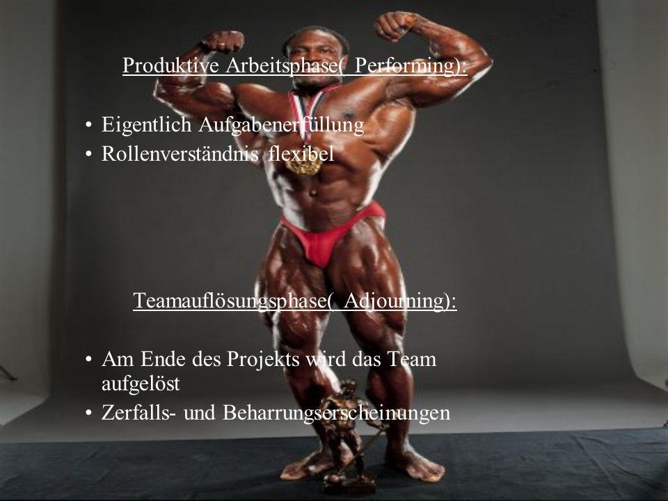 Produktive Arbeitsphase( Performing): Eigentlich Aufgabenerfüllung Rollenverständnis flexibel Teamauflösungsphase( Adjourning): Am Ende des Projekts w