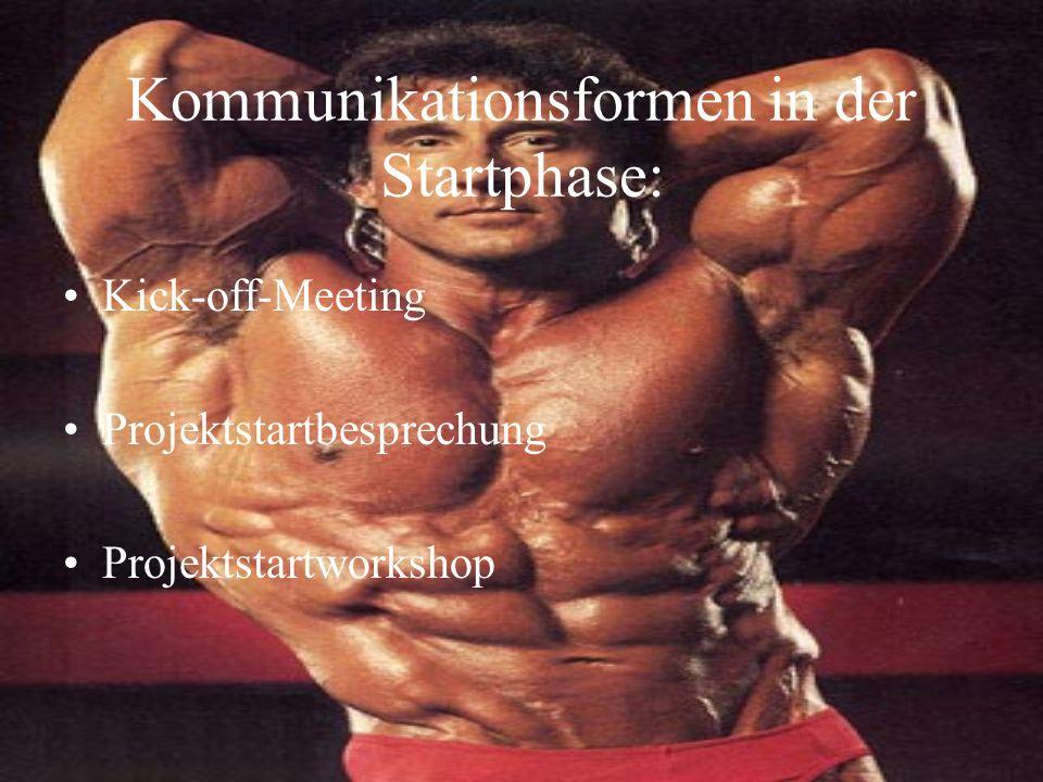 Kommunikationsformen in der Startphase: Kick-off-Meeting Projektstartbesprechung Projektstartworkshop