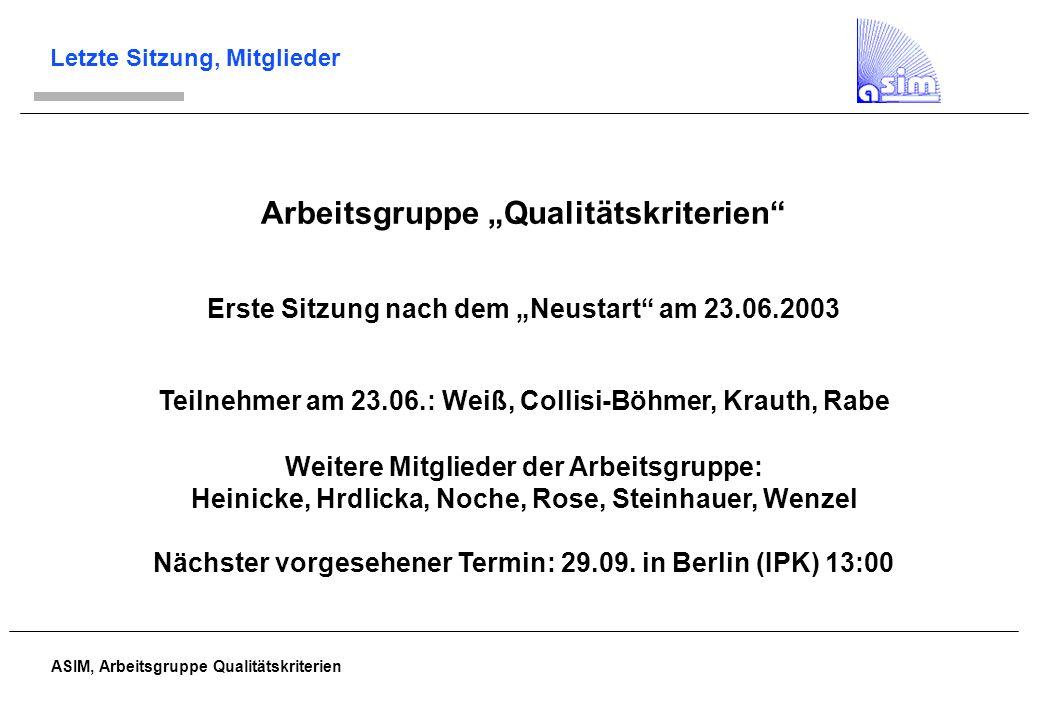 ASIM, Arbeitsgruppe Qualitätskriterien Ziele Kriterien sollen spezifisch für die Simulation sein; keine allgemeinen Kriterien für Software, wissenschaftliches Arbeiten etc.