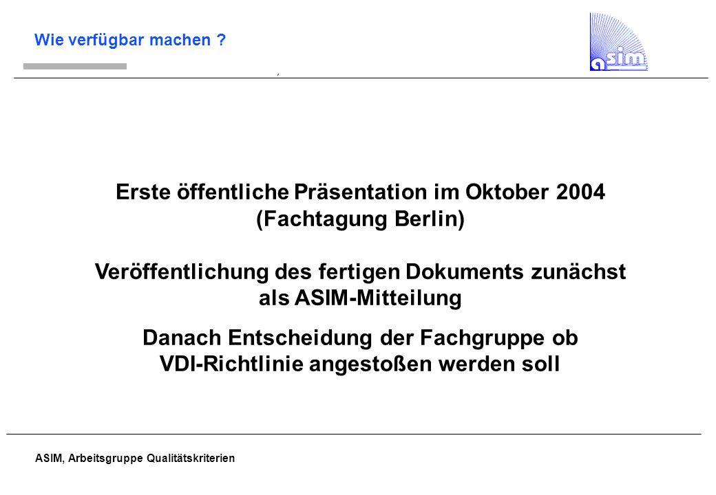ASIM, Arbeitsgruppe Qualitätskriterien Wie verfügbar machen ? Erste öffentliche Präsentation im Oktober 2004 (Fachtagung Berlin) Veröffentlichung des