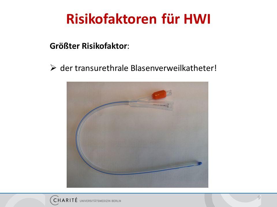 Risikofaktoren für HWI 9 Größter Risikofaktor:  der transurethrale Blasenverweilkatheter!
