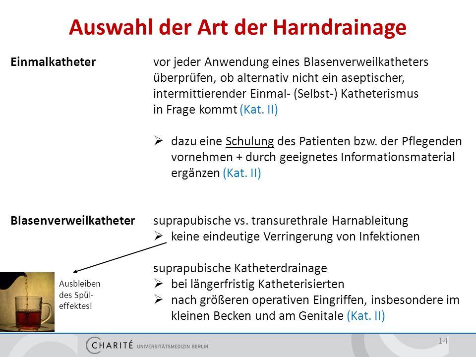 Auswahl der Art der Harndrainage 14 Einmalkatheter vor jeder Anwendung eines Blasenverweilkatheters überprüfen, ob alternativ nicht ein aseptischer, i