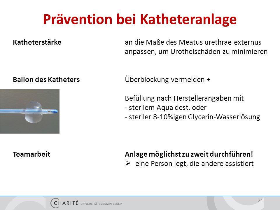 Prävention bei Katheteranlage 21 Katheterstärke an die Maße des Meatus urethrae externus anpassen, um Urothelschäden zu minimieren Ballon des Katheter