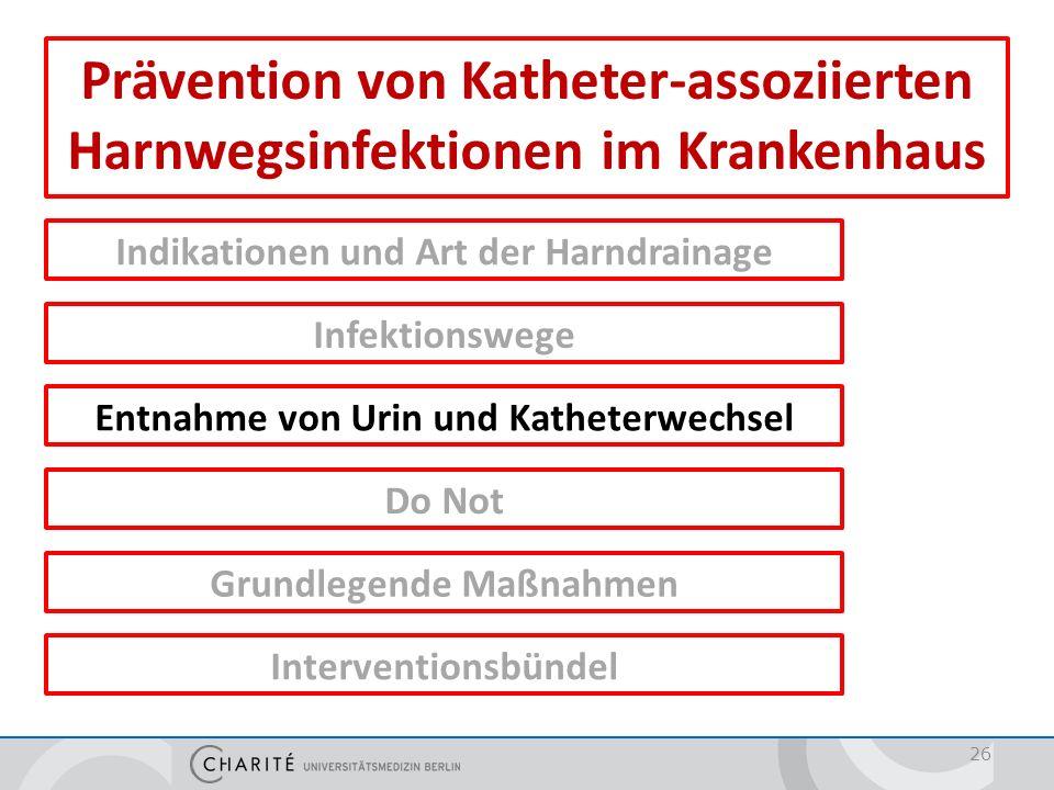 Prävention von Katheter-assoziierten Harnwegsinfektionen im Krankenhaus Indikationen und Art der Harndrainage Infektionswege Entnahme von Urin und Kat