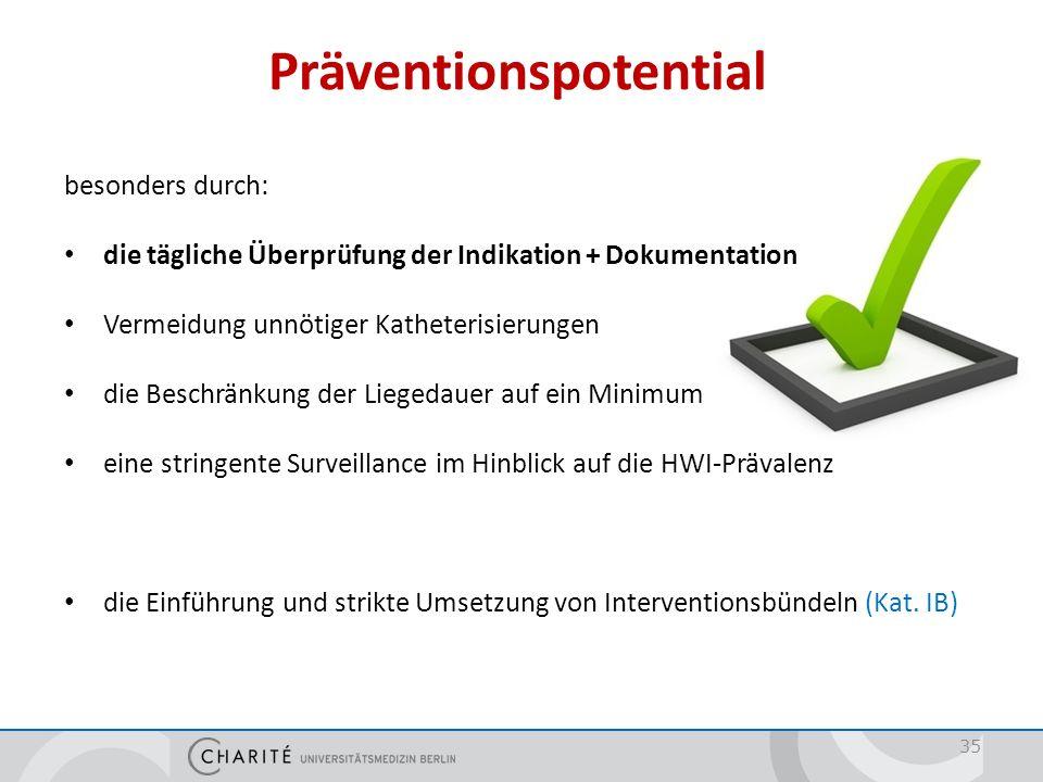 Präventionspotential 35 besonders durch: die tägliche Überprüfung der Indikation + Dokumentation Vermeidung unnötiger Katheterisierungen die Beschränk